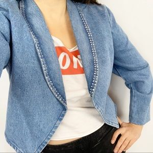 VINTAGE Crystal Embellished Denim Jean Jacket Open